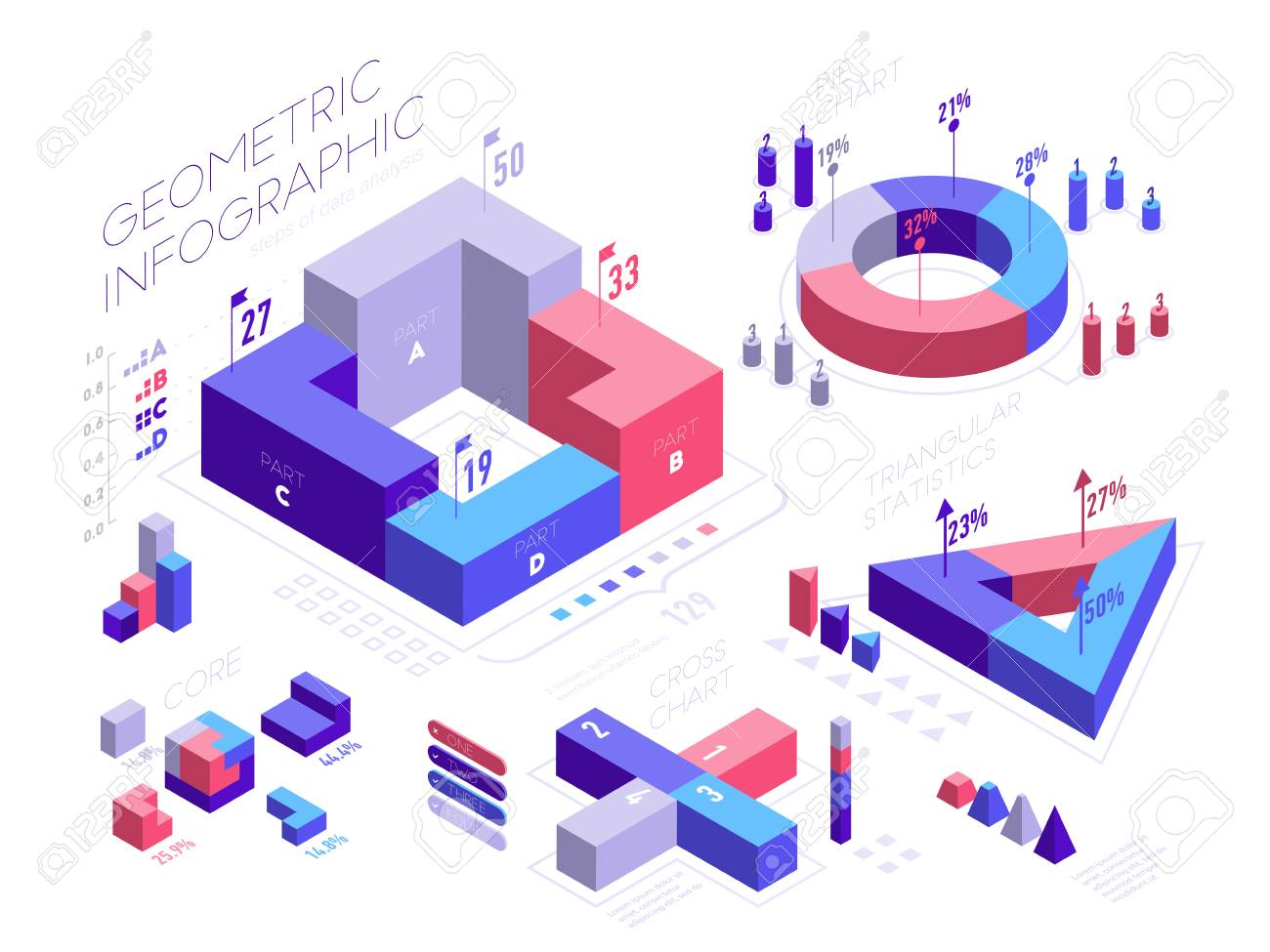 isometric infographic elements with