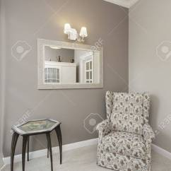 Floral Arm Chair Norwegian Posture Tuscany Armchair In Corner Of Room Stock Photo Picture And