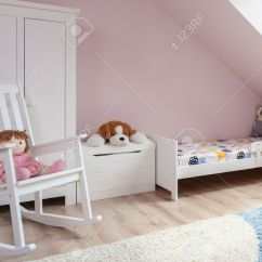 Little Girl Rocking Chair Camping Chairs In Cute Room For Stock Photo Picture And 41852163