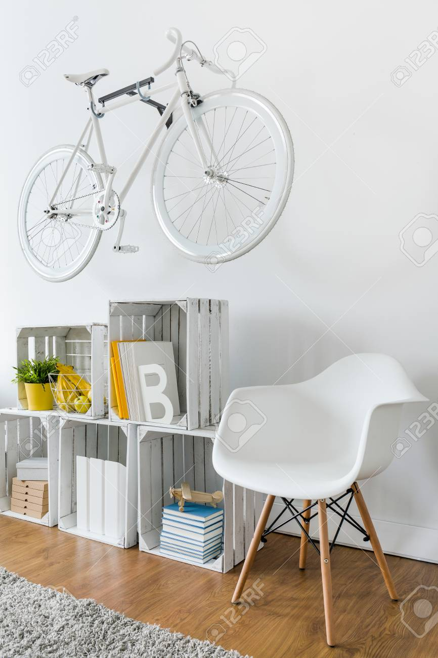 Chair Bike Shelf Made From Wood Box Chair And Bike Hanging On White Wall