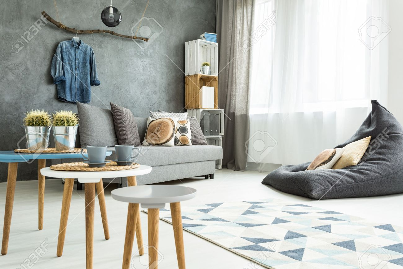 living room bean bags modern indian seating designs minimalistic and bright in shades of cyan stock with sofa bag chair