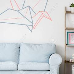 Wall Sofa White Bed With Storage Light Living Room Diy Regale And Washi Tape Decor Stock Photo