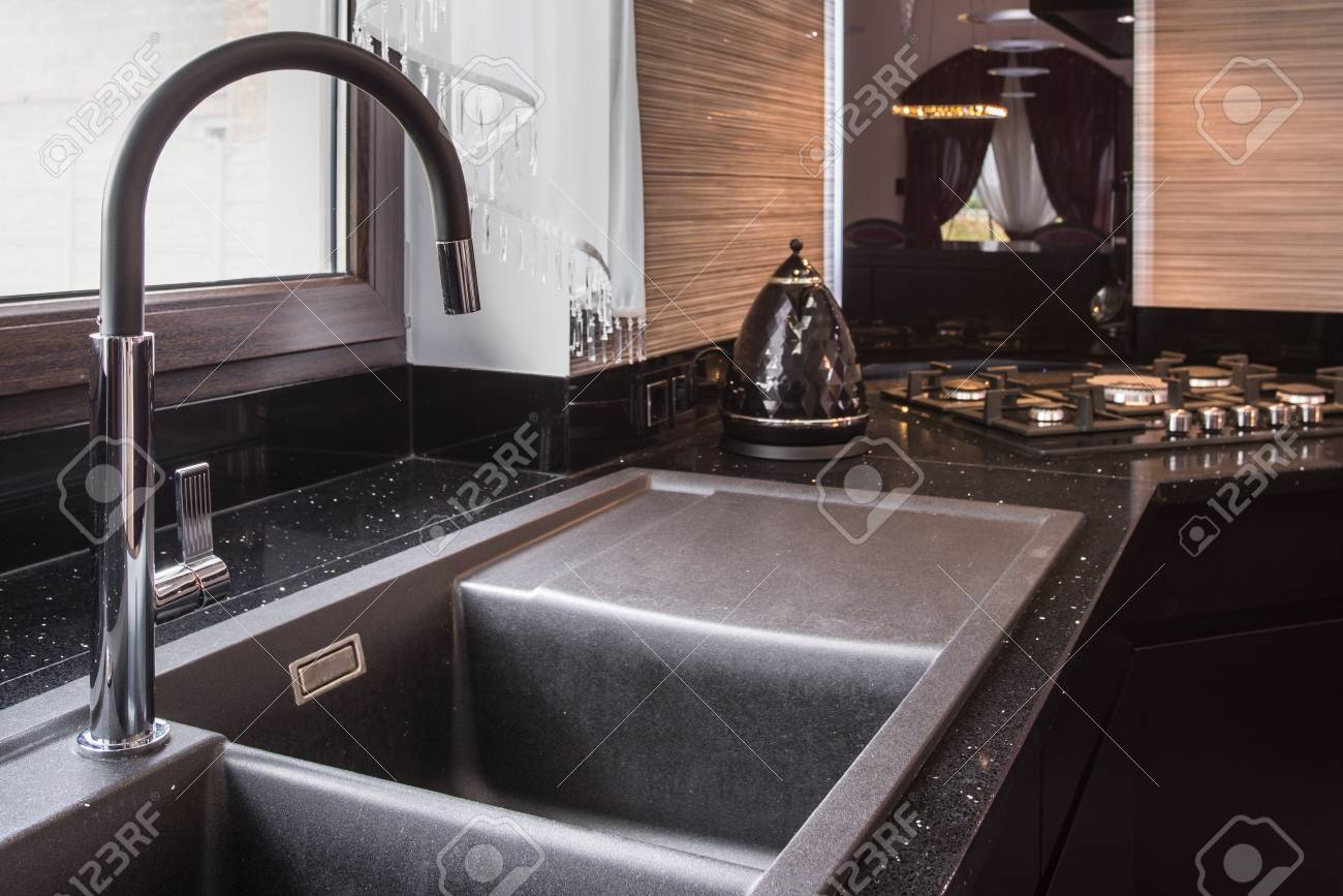 image of big kitchen sink with simple tap stock photo picture and royalty free image image 63443858