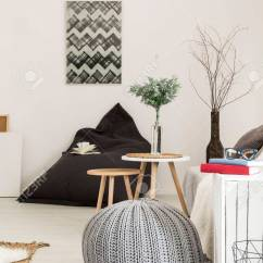 White Living Room Side Table Ideas Grey And Green Modern In With Stylish Pendant Lamp Pouf Stock Sack Chair