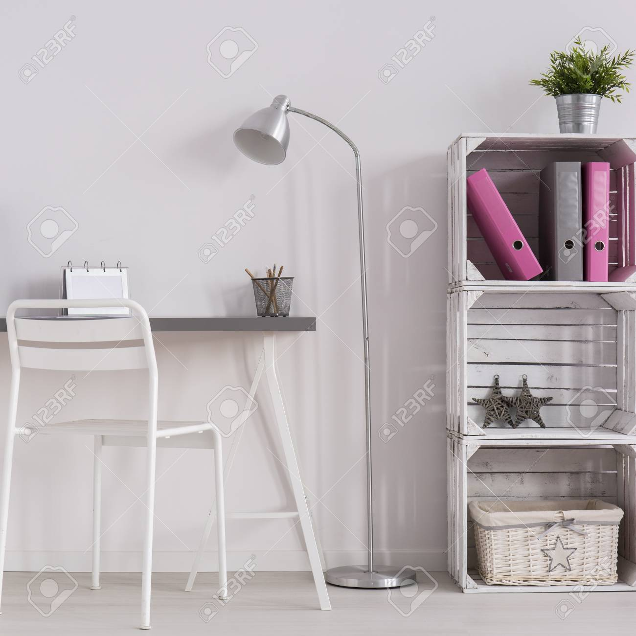 white minimalist home office