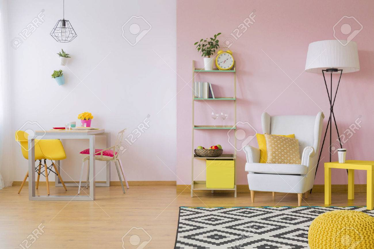 yellow chairs for living room contemporary colors pink with white and furniture stock photo 67106326
