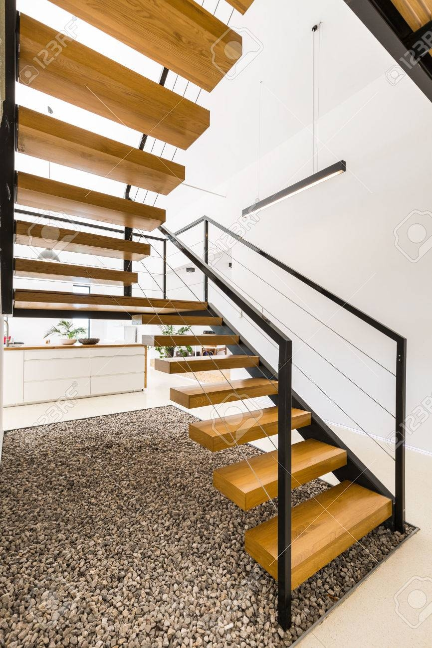 Light House Interior With Modern Wooden Staircase With Simple | Modern Wood Staircase Railing | Residential | Interior | Floor To Ceiling | Ultra Modern | Traditional Wood Stair