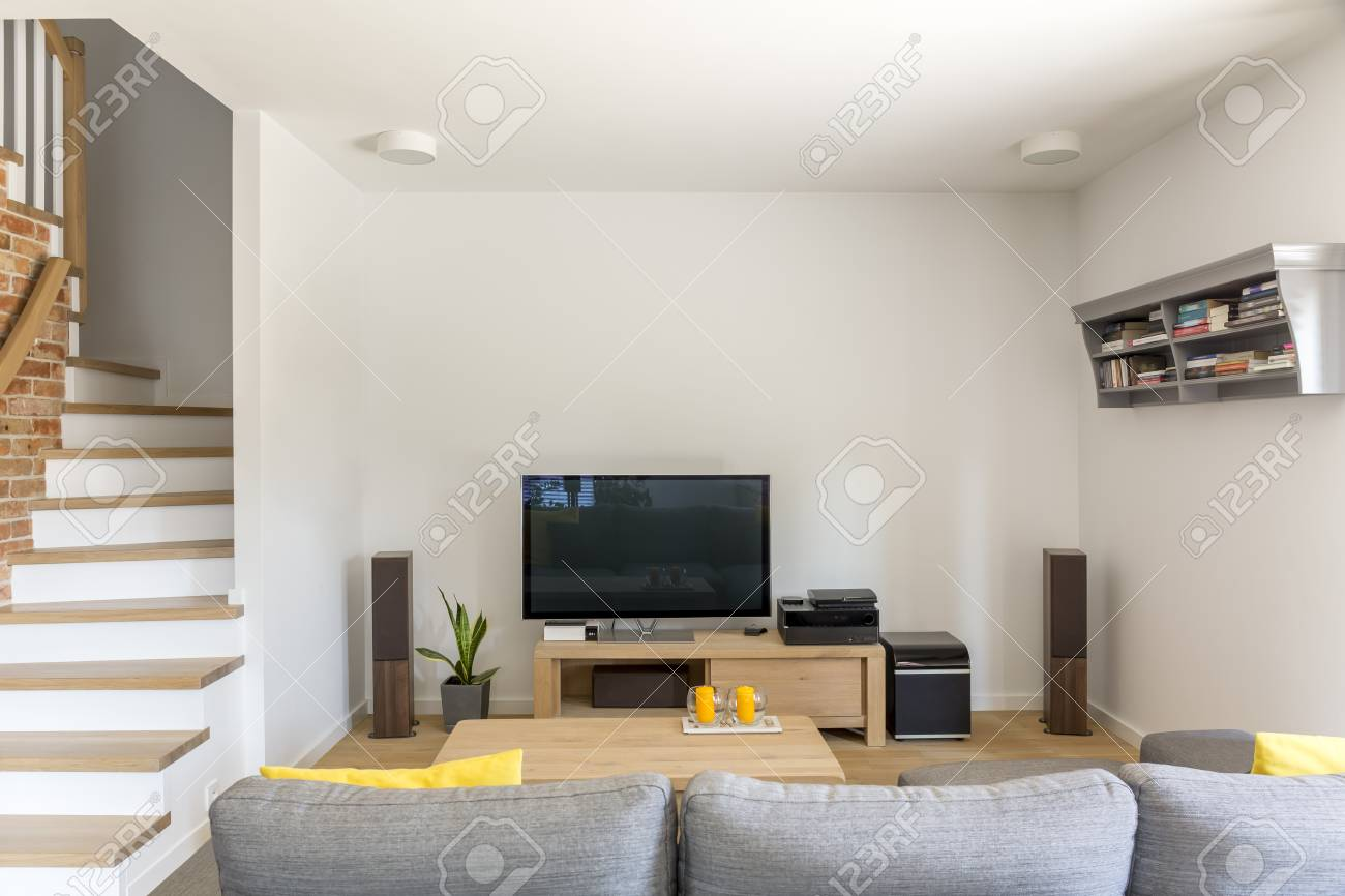 open living room with tv sofa and staircase stock photo picture and royalty free image image 70237208