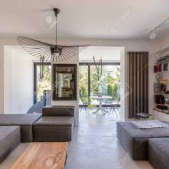 Veranda Living Rooms Lighting Ideas For Room Open Space Of A Modern Overlooking Stock Photo 71766413