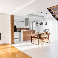 Open Plan Staircase In Living Room Decorating Ideas Blue And Brown Modern Luxury Apartment With Stairs Communal Table Kitchen Stock Photo 76423777