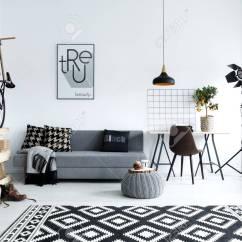 Living Room Pouf Tv Shelves Design Hipster Style White With Sofa Carpet Bike Stock Photo