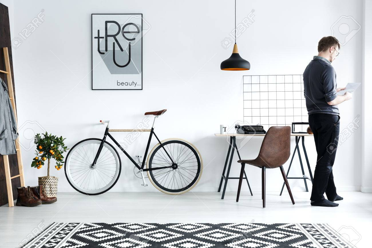 Chair Bike Modern White Home Interior With Desk Chair Bike Poster