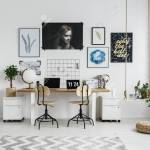 Modern Home Office Interior With Double Desk Posters And Accessories Stock Photo Picture And Royalty Free Image Image 86161830