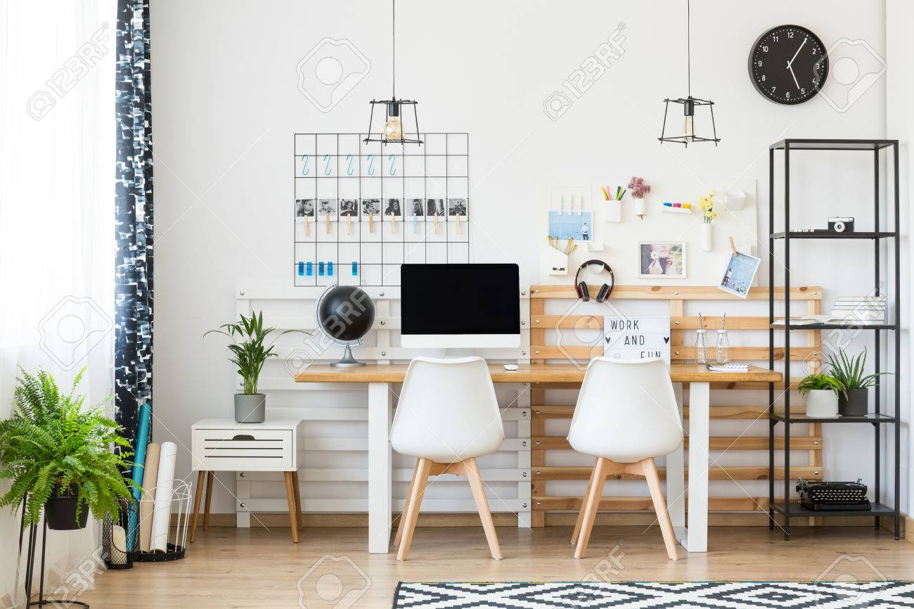 Home Office For Two People Bright Multifunctional Workspace For Two People With Plants