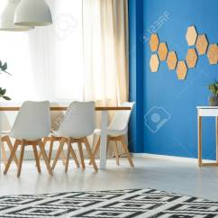 Blue Modern Living Room Decor Cheap Wall Accent In Minimalist With Open Dining Area Scandinavian Design