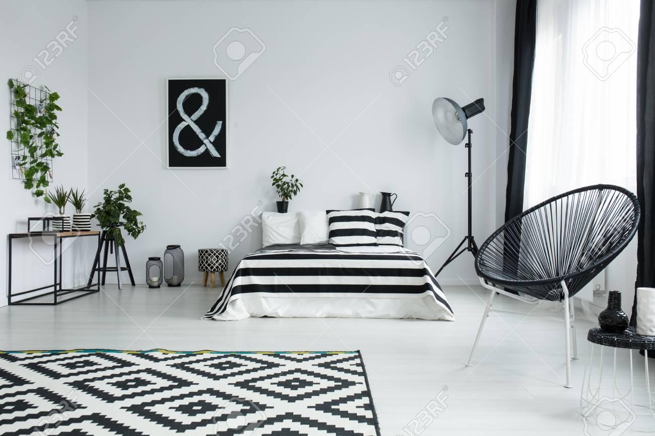 https fr 123rf com photo 83779638 tapis noir et blanc de tapis sur le sol brillant dans une chambre ray c3 a9e avec une brosse ray c3 a9e sur le lit html