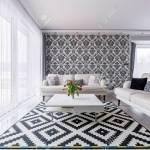 Elegant Contemporary Living Room With White Retro Sofas And Floral