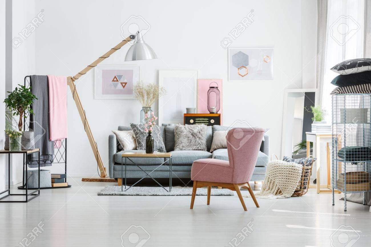 canape gris avec des oreillers decoratifs dans le salon avec fauteuil rose et radio vintage banque d images et photos libres de droits image 84587758