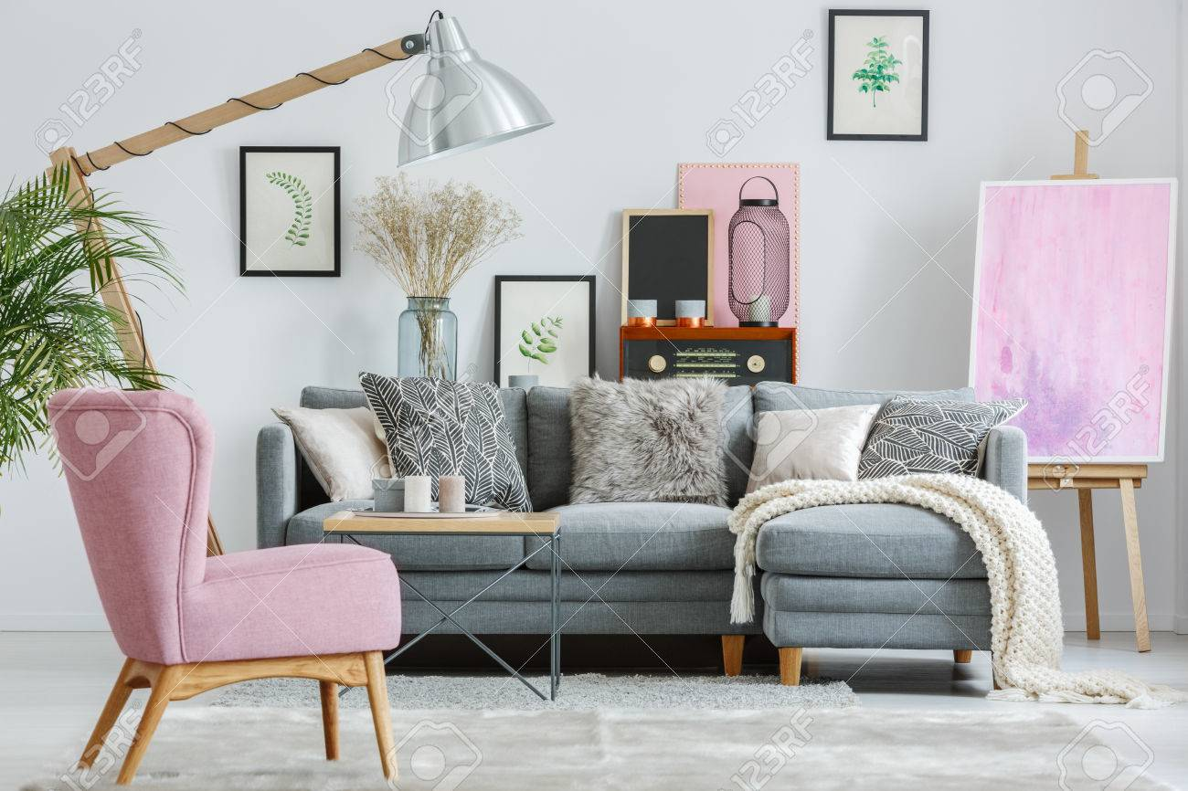 grey sofa living room carpet sofas ideas pink armchair on in with white blanket and designed