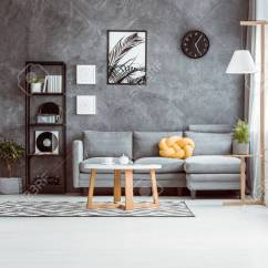 Grey Sofa Living Room Carpet Corner Shelves Spacious With Coffee Table On In Scandinavian Style And Against Concrete