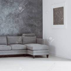 Living Room Paint Grey Couch Blue Green Curtains For Simple Empty With Sofa Against Concrete Wall And Silver Painting On White