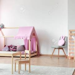 Bedroom Chair For Clothes Childrens Folding Table And Set Kids Small Chairs In Scandinavian Style With Pillow On Grey Girl