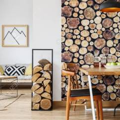 Living Room Firewood Holder Navy Blue And Beige Ideas Wooden Log Wallpaper In Spacious Interior With Open Separated Dining