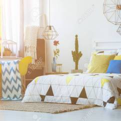 Bedroom Chair With Blanket Gaming Recliner Patterned On Yellow In Folk Pillows Basket Cactus And Lamps
