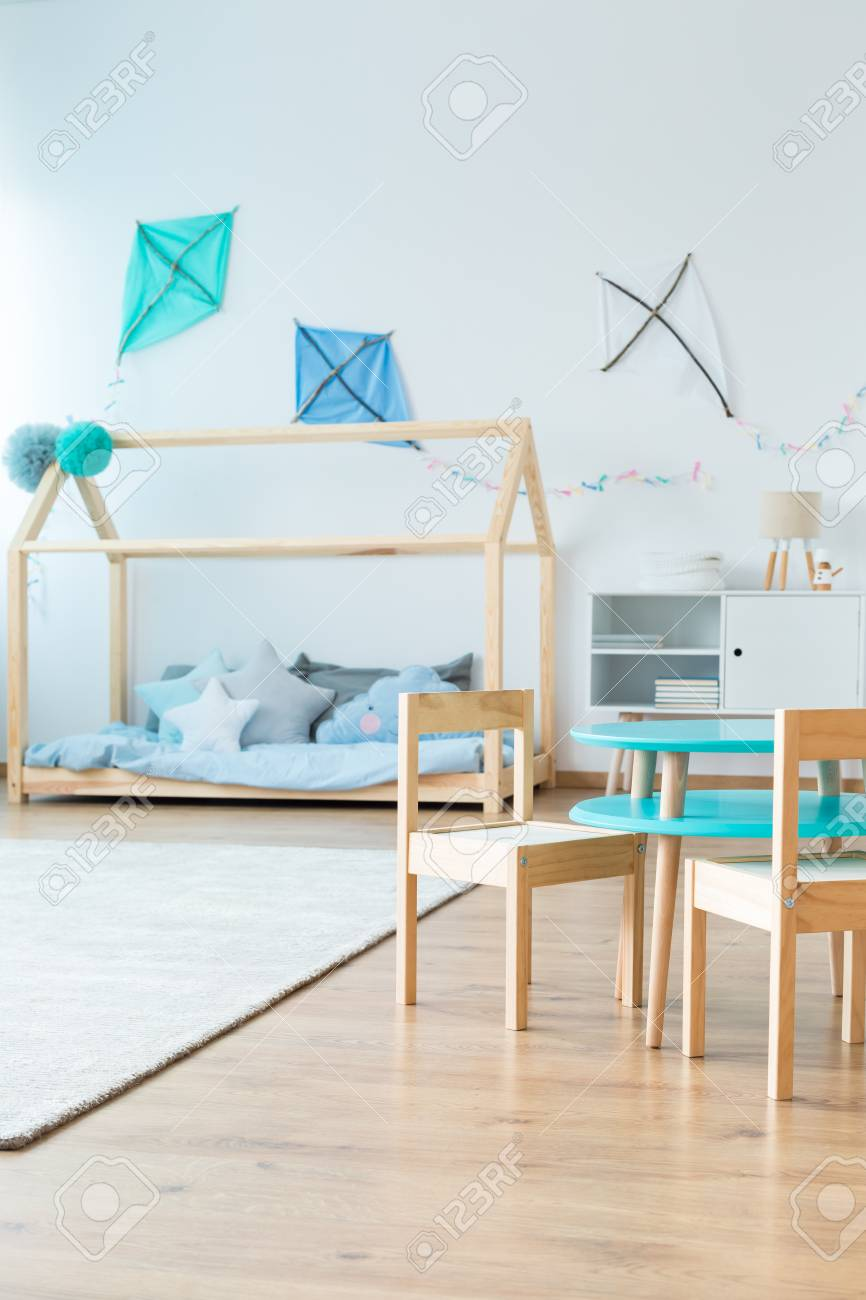 Small Chairs For Bedroom Small Wooden Chairs At Table In Scandinavian Style Kid S Bedroom