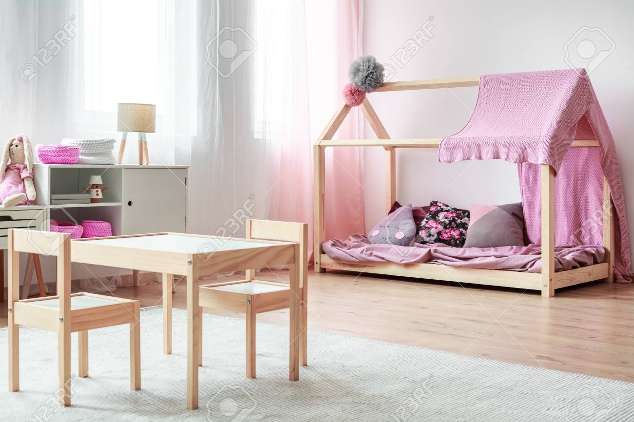 Small Chairs For Bedroom Small Wooden Chairs At Table In Kid S Bedroom With Handmade Bed