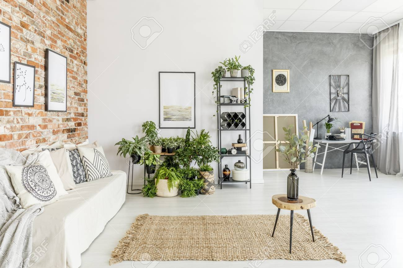 living room with carpet buy a set stool vase on brown in bright white stock photo sofa and plants