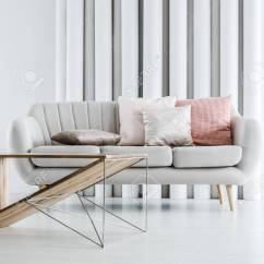Bright Sofa Best Recliner Sets White Round Decorative Pillars Placed Behind With Stock Photo Cushions In Modern Living Room