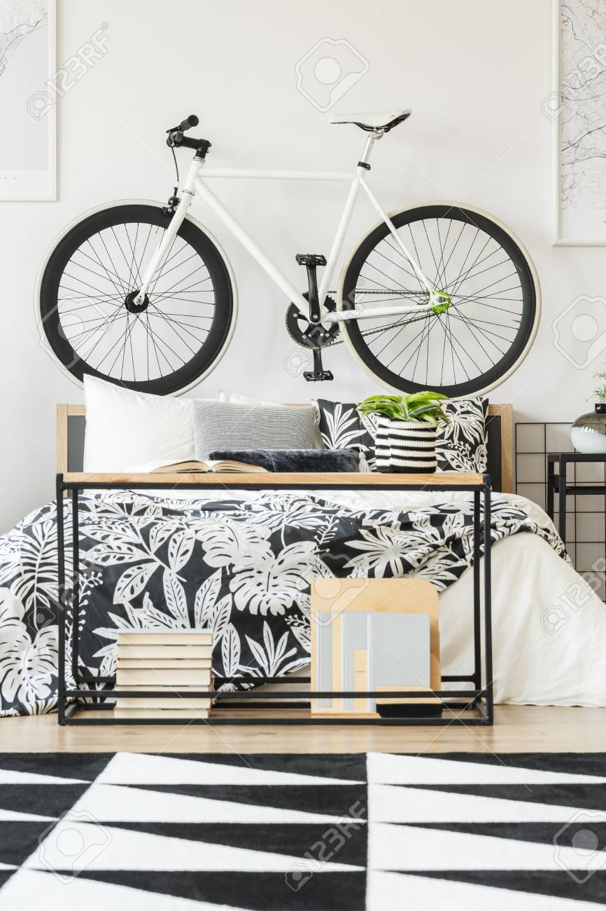 black and white geometric rug in modern teenager bedroom with stock photo picture and royalty free image image 93199901