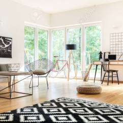 Living Room Pouf Nice Chairs For Black And White Carpet In Multifunctional With Workspace Lamps Poster
