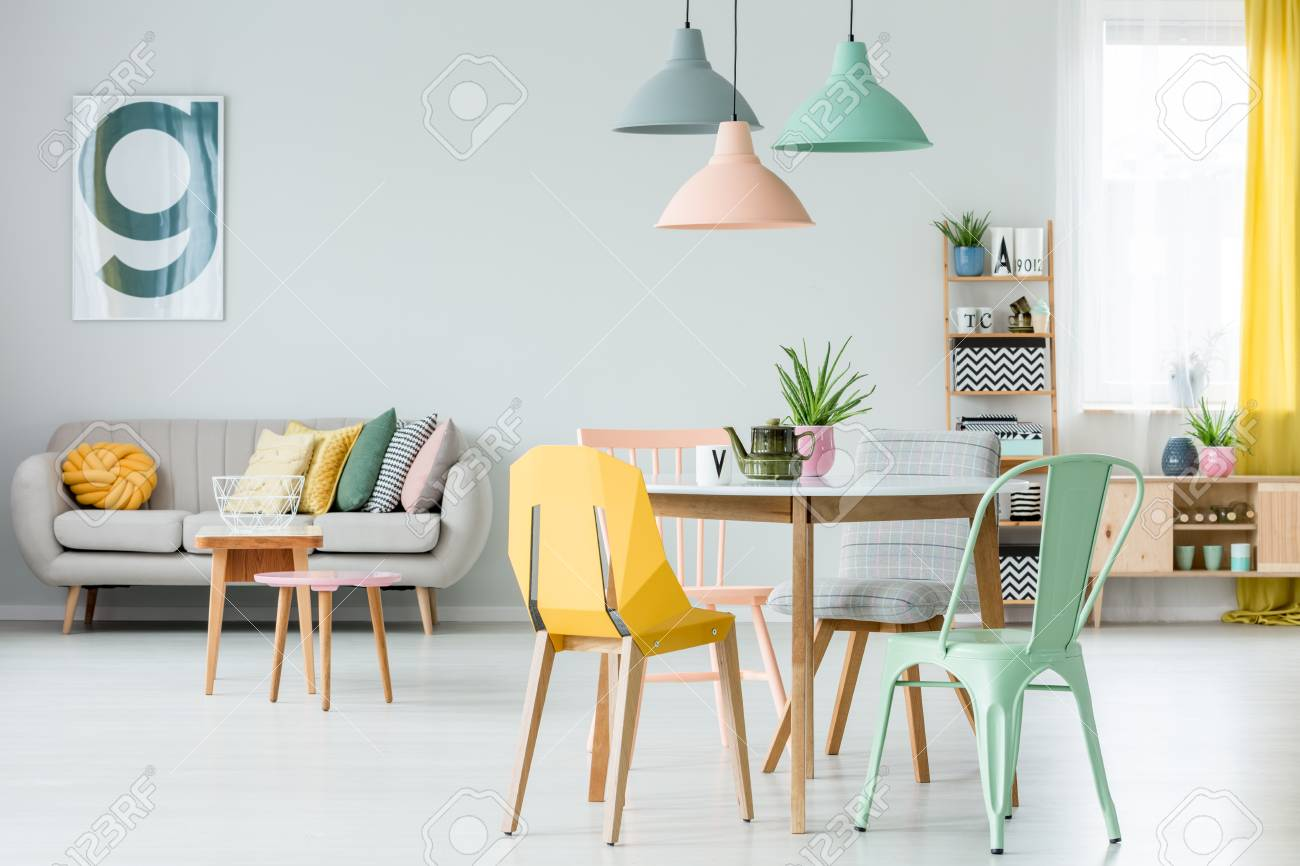 modern colorful chairs at