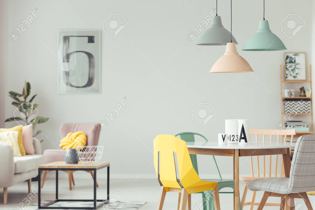 yellow and grey chair wicker replacement cushion covers pastel lamps above table green in stock colorful dining room interior
