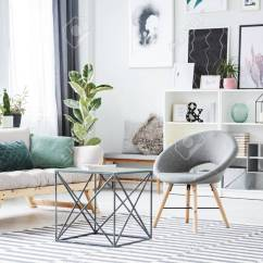 Green Cushions Living Room Interior Design Pictures Metal Table Between Grey Chair And Sofa With In Bright