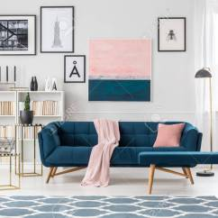 Living Room Settee Benches Furnitire Blue Bench And With Pink Blanket In Elegant Interior Bookcase Posters