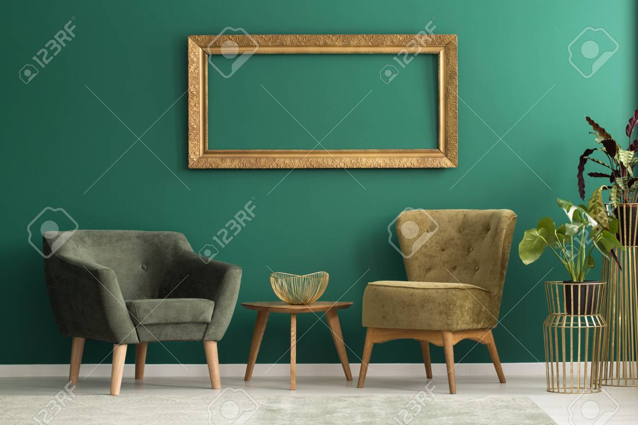 Green Upholstered Chair Empty Frame Above Retro Upholstered Chairs In A Green Living