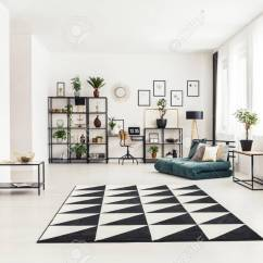 Living Room Mattress Floor Lights For Black And White Rug In A Interior With Retro Armchair Plants