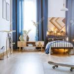 Modern Bedroom Interior For A Teenager With Long Curtains Bed Stock Photo Picture And Royalty Free Image Image 98295200