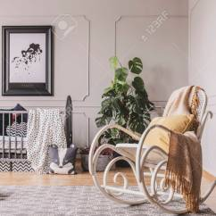 Chairs For Baby Room Exercise Balls As Rocking Chair With Blanket And Pillow In Stylish Interior Grey Crib Map