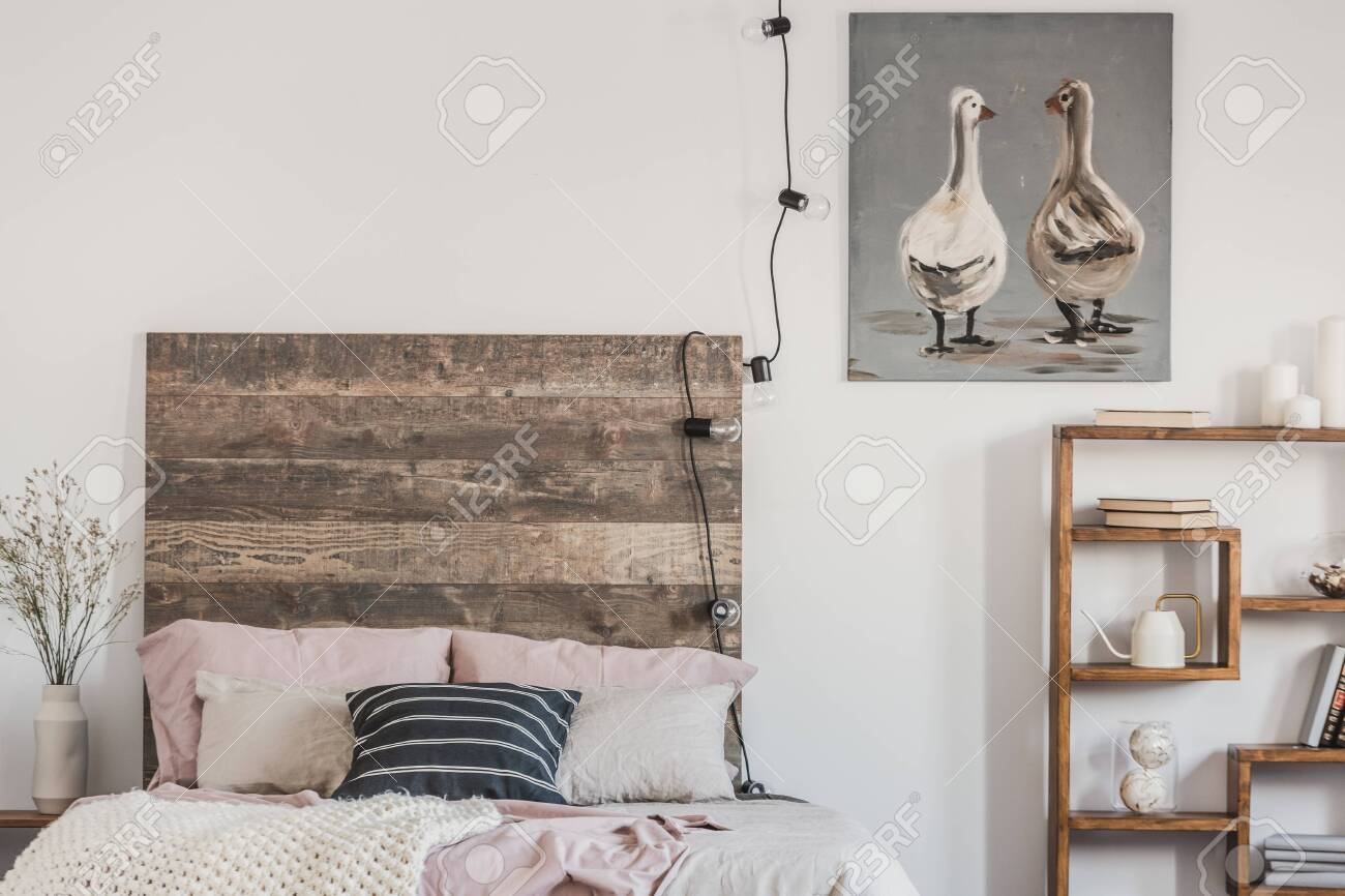 cute ducks on grey oil painting in white rustic bedroom interior stock photo picture and royalty free image image 130624691