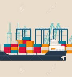 empty cargo ship in the container terminal stock vector 103923025 [ 1300 x 925 Pixel ]