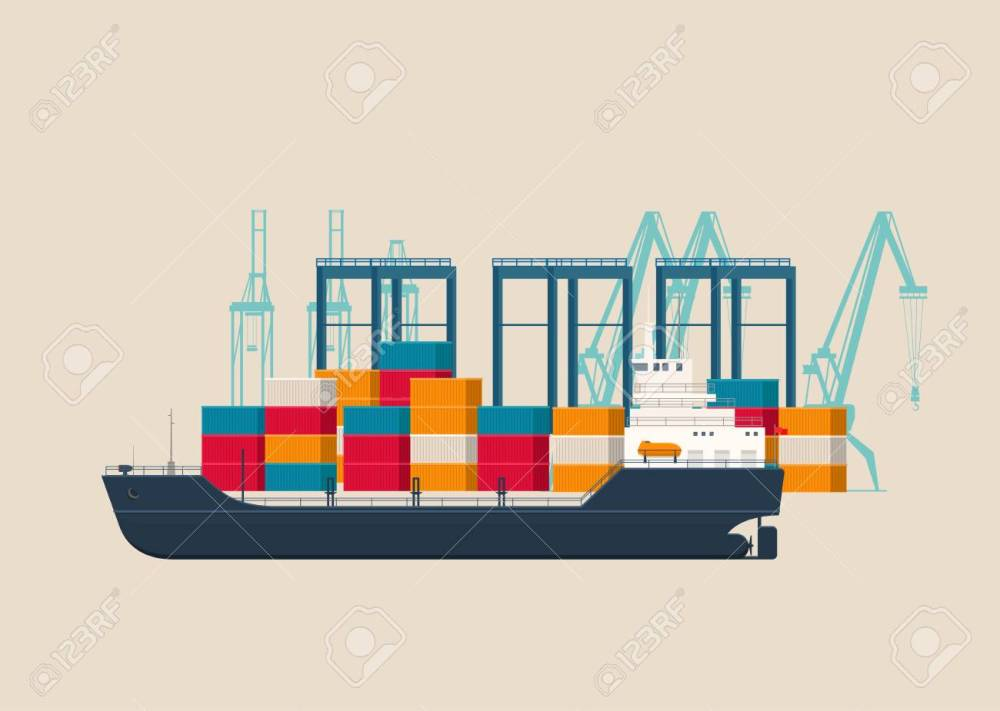 medium resolution of empty cargo ship in the container terminal stock vector 103923025