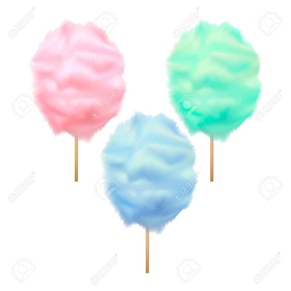 medium resolution of realistic detailed 3d trendy color cotton candy set sweet sugar dessert on stick summer tasty food