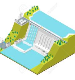 hydroelectric power station concept 3d isometric view vector stock vector 98121502 [ 1300 x 975 Pixel ]
