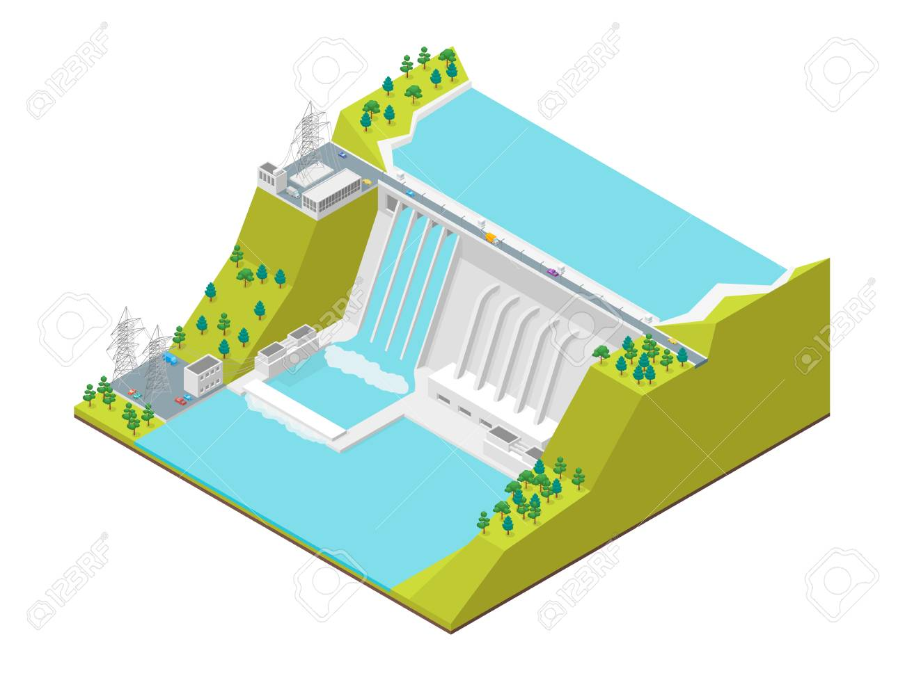 hight resolution of hydroelectric power station concept 3d isometric view vector stock vector 98121502