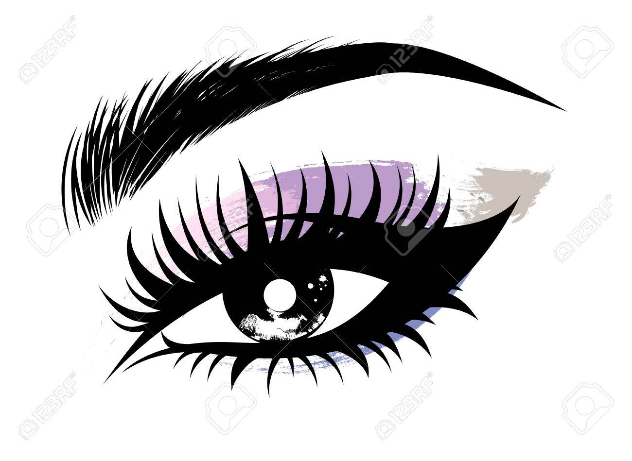 hight resolution of illustration vector of beautiful eye makeup and brow on white background
