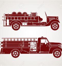 vector vintage fire trucks [ 1300 x 1219 Pixel ]